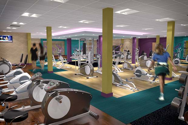 Newly decorated gym interior with equipment